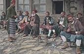 Smokers in front of a Turkish Coffee - Hookah - Waterpipe (Turkey)