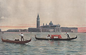 Stich von Venedig - Gondel - Inseln San Giorgio Maggiore - Basilica di San Giorgio Maggiore - Piazza San Marco (Italien)
