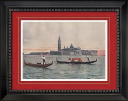 Ansicht von Venedig - Gondel - Inseln San Giorgio Maggiore - Basilica di San Giorgio Maggiore - Piazza San Marco (Italien)