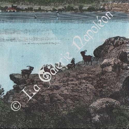 Antika Tryck Vy Over Bourgetsjon Jurabergen Savojen Rhone Alpes Frankrike Trasnitt 1887