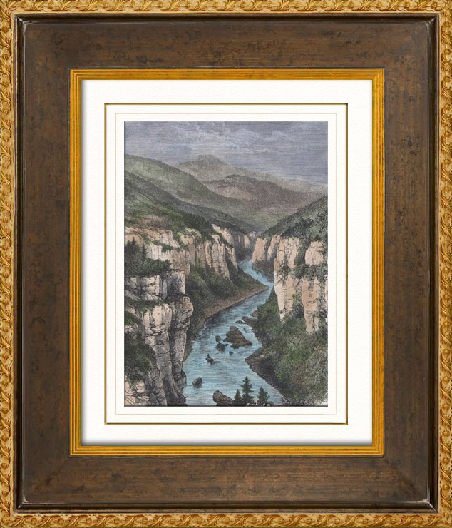 Antika Tryck Doubs Flod Jurabergen Frankrike Trasnitt 1887