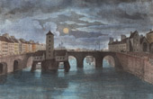 Bridge of Paris - Pont Notre-Dame at the XVIIIth Century