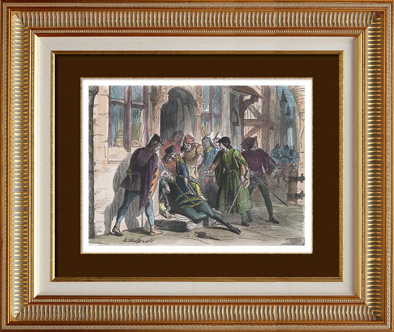 Gravures Anciennes & Dessins   Tentative d'assassinat de Olivier V de Clisson (13 juin 1392)   Gravure sur bois   1880