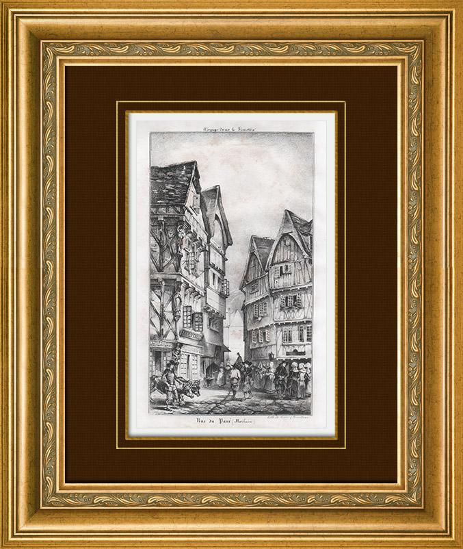 gravures anciennes vue de morlaix rue du pav finist re bretagne france lithographie. Black Bedroom Furniture Sets. Home Design Ideas