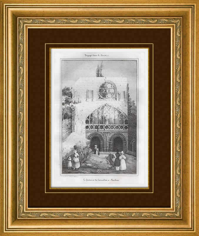 gravures anciennes vue de morlaix fontaine des carm lites finist re bretagne france. Black Bedroom Furniture Sets. Home Design Ideas