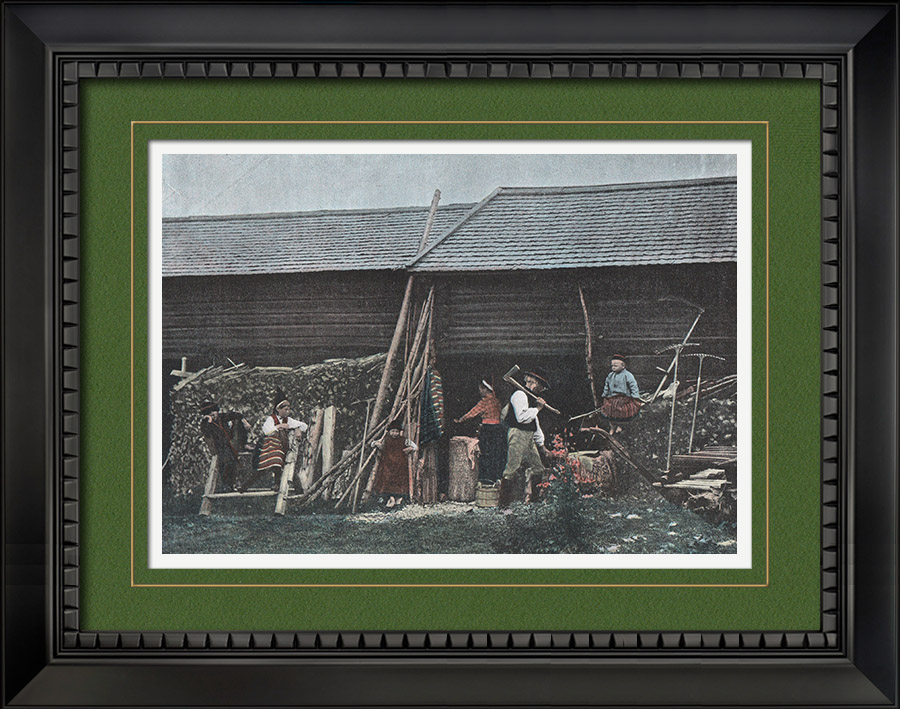 Antique Prints & Drawings | House in Dalarna - Historical province (Sweden) | Photochrom print | 1890