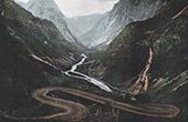 Gebirgstal von Noeroedal - Kilfoss - Wasserfall - Skandinavien (Norwegen)