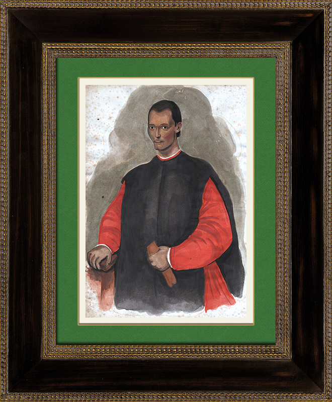 Antique Prints & Drawings | Portrait of Niccolò Machiavelli (1469-1527) | Watercolor painting | 1830