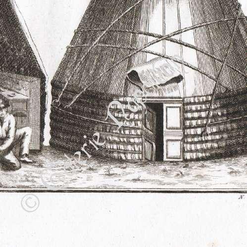 Gravure 1850 Temple Kalmouk sur la rive gauche du Volga