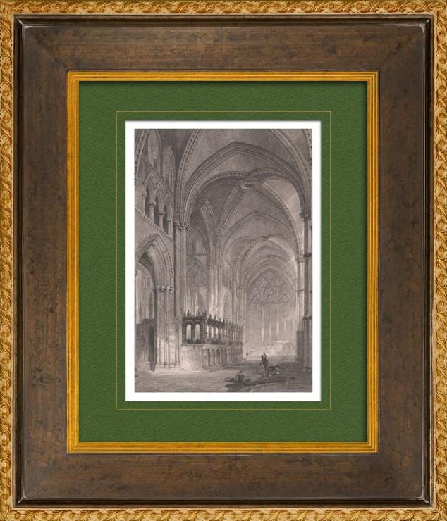 Gravuras antigas gravura de catedral de durham for Catedral de durham interior