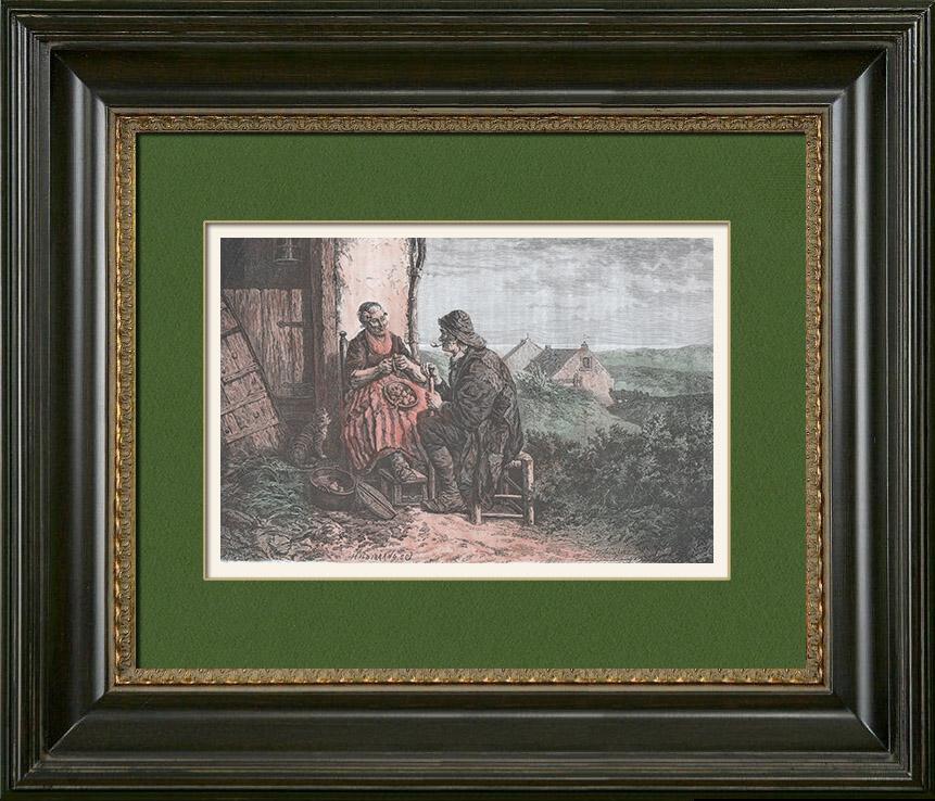 alte stiche fischer in scheveningen den haag holland niederlande holzstich 1880. Black Bedroom Furniture Sets. Home Design Ideas