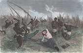 Expedition of Sir Samuel White Baker Attacked by a Crocodile - Gondokoro (Sudan)