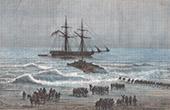 Ausladen eines Amerikanischen Schiffes auf einem Peruvianischen Strand - Mollendas (Peru)