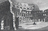 View of Rome - Interior of Colosseum - Roman Coliseum - Flavian Amphitheater
