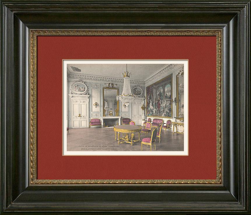 grabados antiguos castillo de compi gne salon de mar a antonieta fotocromo grabado 1890. Black Bedroom Furniture Sets. Home Design Ideas