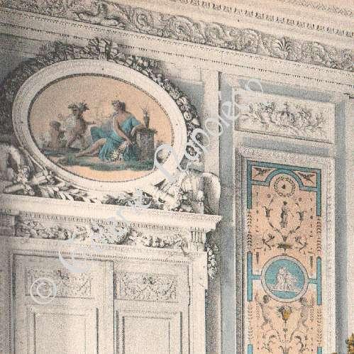 grabados antiguos castillo de compi gne dormitorio de mar a antonieta fotocromo grabado 1890. Black Bedroom Furniture Sets. Home Design Ideas