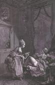 Gravure érotique - Le Curieux - Médecin - Clystère - Lavement