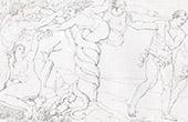 Sixtinische Kapelle - Erbs�nde - Adam und Eva im Paradies (Michelangelo)