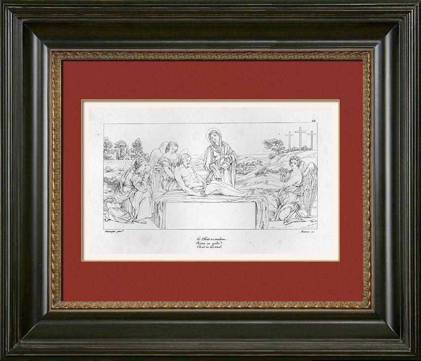 Gravures Anciennes & Dessins   Bible - Jésus Christ - La Déposition de Croix - La Mise au Tombeau (Le Dominiquin - Domenichino)   Gravure sur cuivre   1844