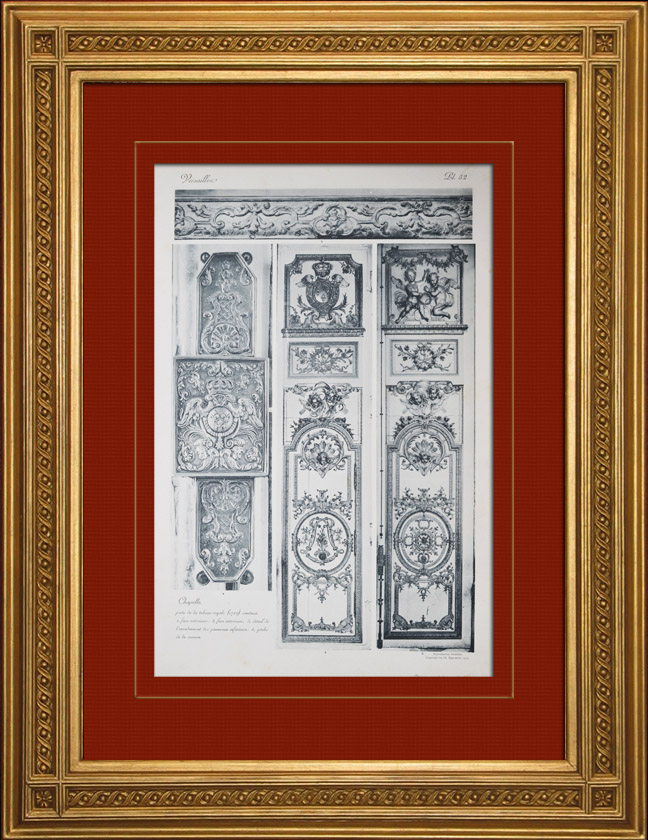 gravures anciennes ch teau de versailles chapelle porte de la tribune royale. Black Bedroom Furniture Sets. Home Design Ideas
