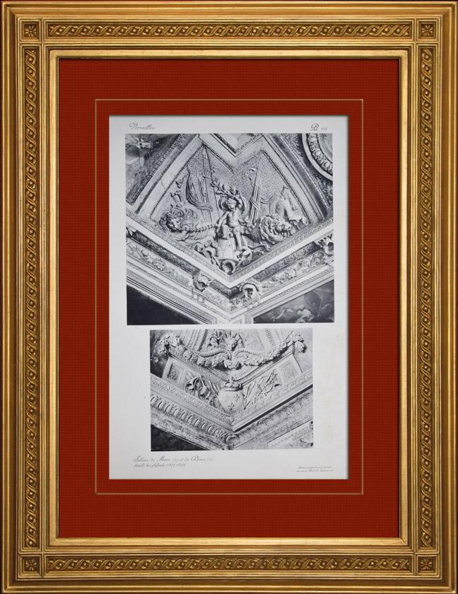 Gravures Anciennes & Dessins | Château de Versailles - Salons de Mars et de Diane - Détails des plafonds | Héliogravure | 1911