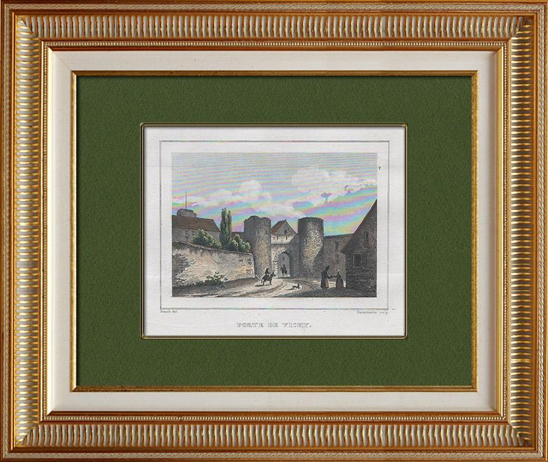 Gravures Anciennes & Dessins | Ancienne Porte de ville - Fortifications - Vichy (Allier - France) | Taille-douce | 1838