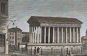 View of N�mes - Maison Carr�e - Roman Temple (Gard - France)