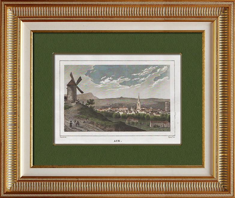 Gravures Anciennes & Dessins   Vue de Aix-en-Provence - Provence-Alpes-Côte d'Azur (Bouches-du-Rhône - France)   Taille-douce   1838