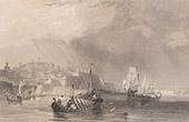 Ansicht von Malta - La Valletta - Hafen - Dampfer - Steamer