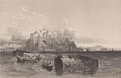 Vue du Volcan Solfatare � Pouzzoles pr�s de Naples - M�le de Caligula (Italie)