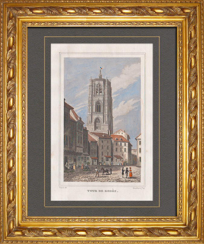 Antique Prints & Drawings | Cathedral of Rodez (Aveyron - France) - Tower | Intaglio print | 1838