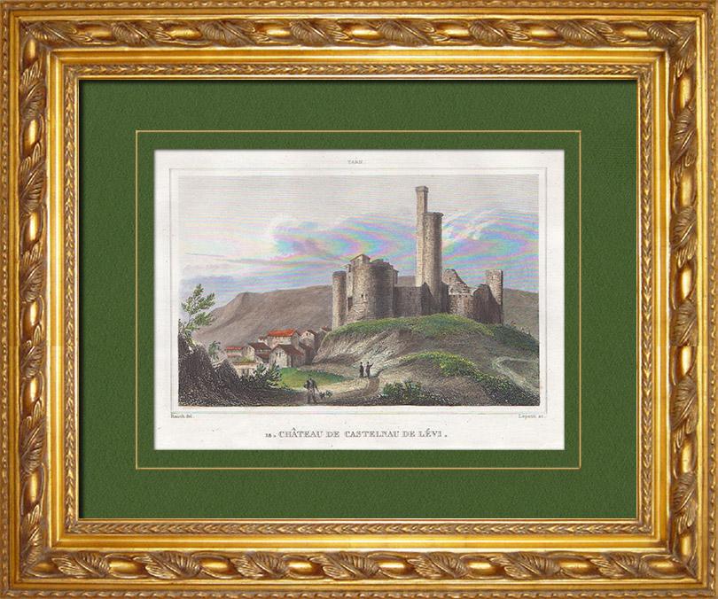 Gravures Anciennes & Dessins | Château de Castelnau-de-Lévis - Midi-Pyrénées (Tarn - France) | Taille-douce | 1838
