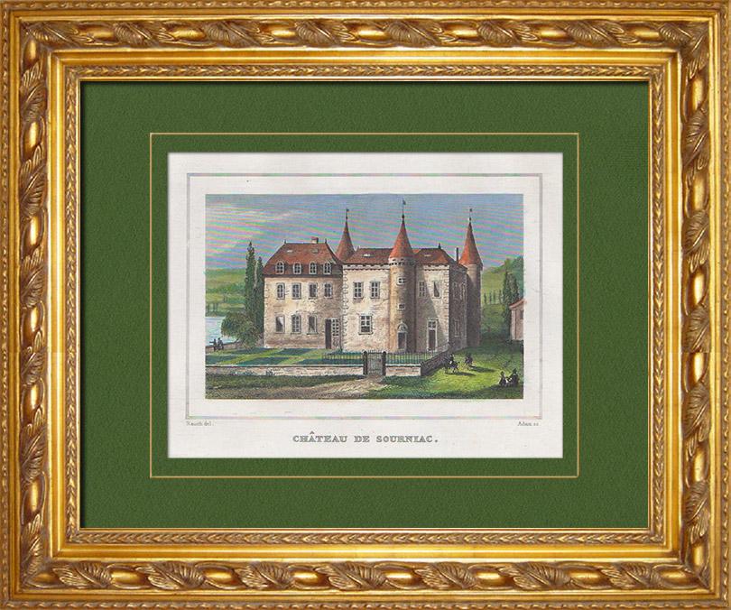 Antique Prints & Drawings   Sourniac Castle - Auvergne (Cantal - France)   Intaglio print   1838