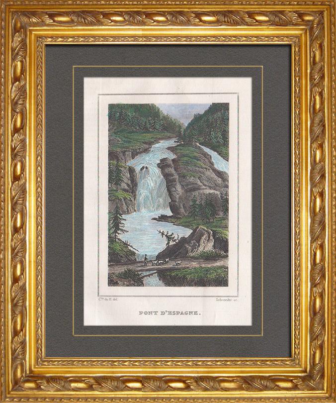 Gravures Anciennes & Dessins | Pont d'Espagne - Parc national des Pyrénées - Cauterets (Hautes-Pyrénées - France) | Taille-douce | 1838