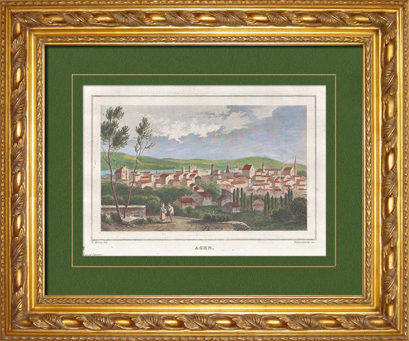 Gravures Anciennes & Dessins | Vue de Agen - Aquitaine (Lot-et-Garonne - France) | Taille-douce | 1838