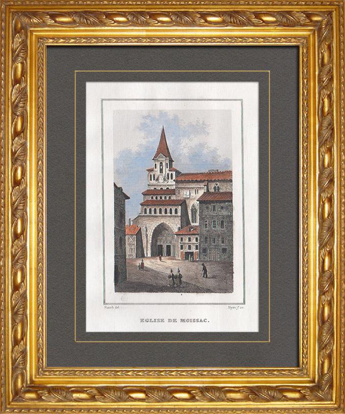 Gravures Anciennes & Dessins | Abbaye Saint-Pierre de Moissac - Midi-Pyrénées (Tarn-et-Garonne - France) | Taille-douce | 1838