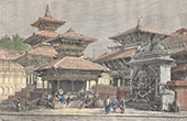 Temples in front of the Palace at Kathmandu (Nepal)