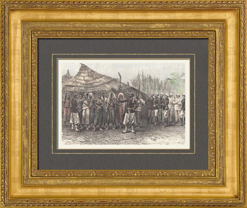 Gravures Anciennes & Dessins | Partage des Femmes du Marabout (Soudan) | Gravure sur bois | 1889