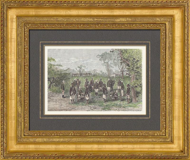 Gravures Anciennes & Dessins   Artillerie en Route vers Diana - Tirailleurs Sénégalais - Soudan Français (Mali)   Gravure sur bois   1889