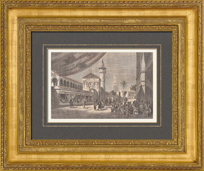 Gravures Anciennes & Dessins | Bazar à Tunis (Tunisie) | Gravure sur bois | 1889