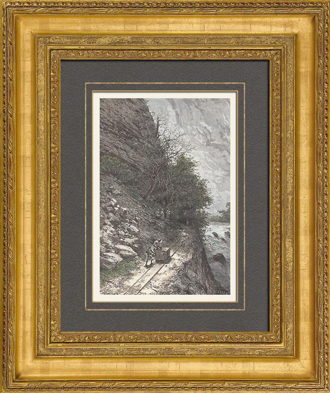 Gravures Anciennes & Dessins | Chemin de Fer Decauville - Défilé de Kalé - Soudan Français (Mali) | Gravure sur bois | 1889