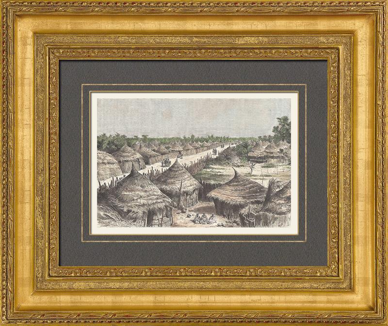 Gravures Anciennes & Dessins | Rue du Village de Liberté - Kayes - Soudan Français (Mali) | Gravure sur bois | 1889