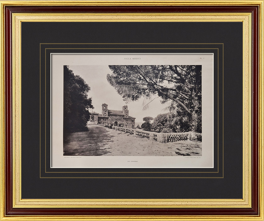 Gravures Anciennes & Dessins | Villa Medici - Villa Médicis (Rome) - Vue d'ensemble | Héliogravure | 1922