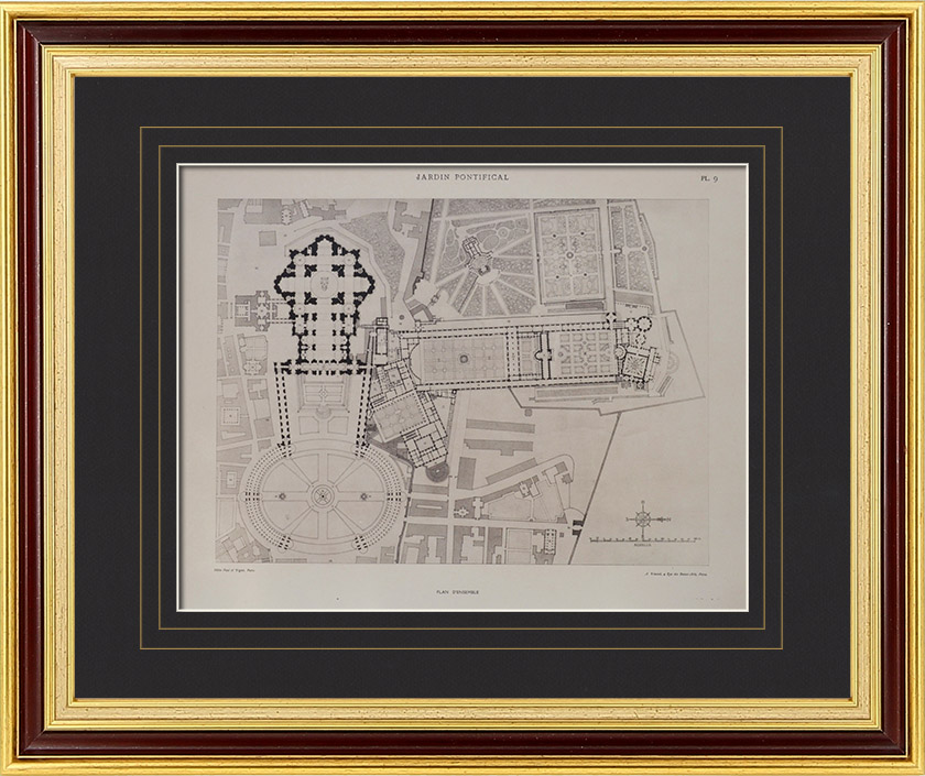 Antique Prints & Drawings | Villa Pia - Gardens of Vatican City (Vatican City) - Overview | Heliogravure | 1922