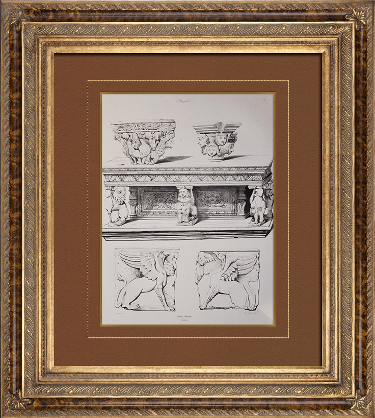 gravures anciennes lithographie de meubles en bois sculpt d tails mythologie toulouse. Black Bedroom Furniture Sets. Home Design Ideas