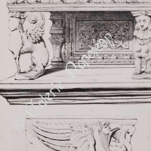 gravures anciennes meubles en bois sculpt d tails mythologie toulouse lithographie 1833. Black Bedroom Furniture Sets. Home Design Ideas