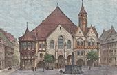 View of Hildesheim - Market Place - City Hall - Fountain - Rolandbrunnen (Germany)