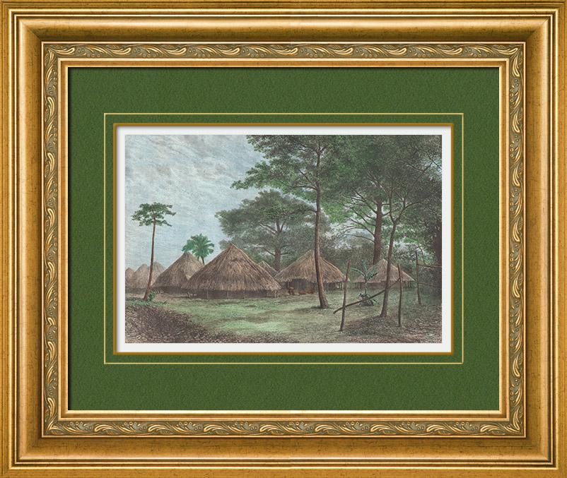 Antique Prints & Drawings   View of Boké - Rio Nunez (Guinea)   Wood engraving   1889