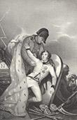 Portrait de Napoléon Bonaparte et son Fils l'Aiglon Napoléon II devant une Tombe - Faucheuse