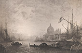French painting - Giudecca Canal in Venice - Sunrise Moon (F�lix Ziem)